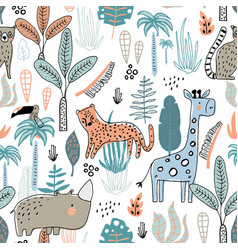 seamless childish jungle pattern with leopard vector image