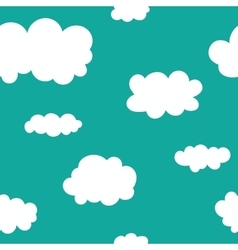 Seamless pattern Funny clouds on blue sky vector image