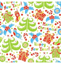 Seamless pattern Happy New Year and Christmas vector image