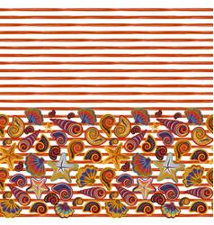 Seamless pattern seashells on striped vector