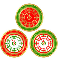 set of round clocks vector image