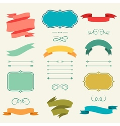 Set romantic arrows ribbons and labels in retro vector