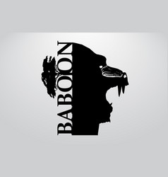 silhouette a baboon vector image