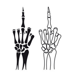 skeleton hand shows middle finger vector image