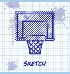Sketch line basketball backboard icon isolated on vector