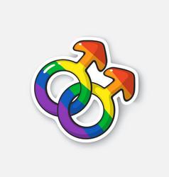 Sticker male homosexual venus symbol rainbow color vector