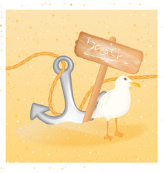 Summer background with seagull anchor wood sign vector
