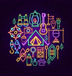 Summer camp neon concept vector