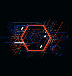 tech futuristic abstract colorful hexahedron hud vector image