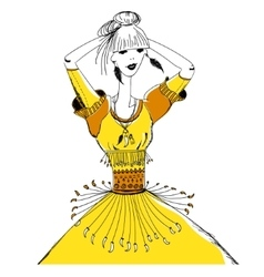 The girl in tribal dress Boho and gypsy style vector