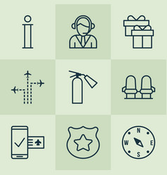 travel icons set with compass sprinkler info vector image