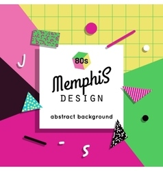 Trendy memphis cards design 1980s background vector image