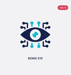 Two color bionic eye icon from artificial vector