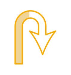 U turn arrow traffic signal icon vector