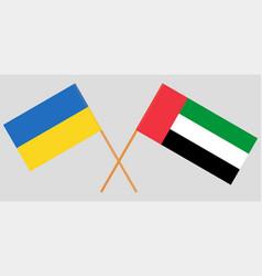 Ukraine and united arab emirates flags vector