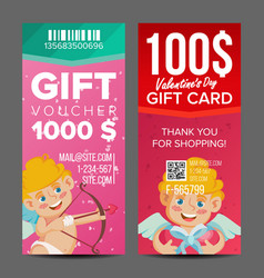 Valentine s day voucher coupon template vector