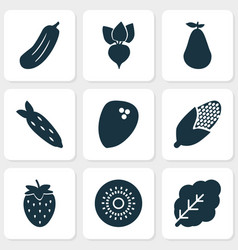 vegetable icons set with coconut maize natural vector image