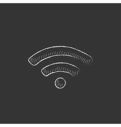 Wifi sign Drawn in chalk icon vector
