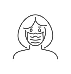 Woman wit medical mask thin line icon vector
