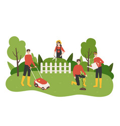 work in garden cartoon people take care yard vector image