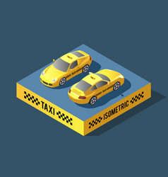 yellow sedan car taxi transport service vector image