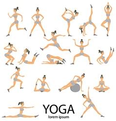 yoga set Women Sketch asana Girl exercises Healthy vector image
