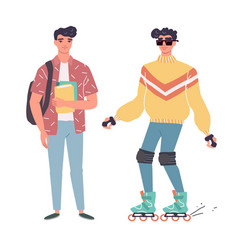 young men in casual clothes with backbackpacks and vector image