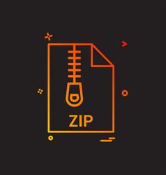 Zip file file extension file format icon design vector
