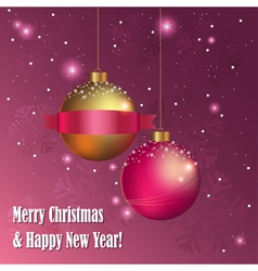 Christmas greeting card with decorative balls vector image vector image