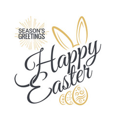 Easter vintage lettering with bunny background vector