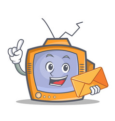 tv character cartoon object with envelope vector image