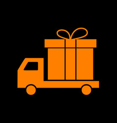 delivery gift sign orange icon on black vector image