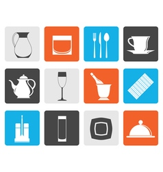 Flat restaurant cafe bar and night club icons vector image vector image
