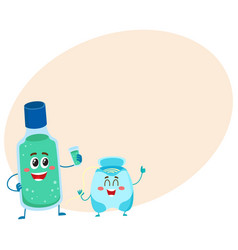 funny dental floss and mouthwash mouth rinse vector image
