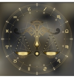 Golden scales zodiac Libra sign vector image vector image