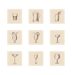 Grunge style drinks icons set vector image