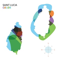Abstract color map of Saint Lucia vector image vector image