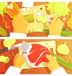 Cooking Of Salad And Steak Two Bright Color vector image vector image