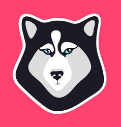 husky dog sticker black and white dog fase logo vector image