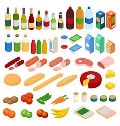 isometric big set of foodstuff food icons vector image