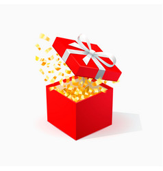 red gift box with golden confetti open red box vector image