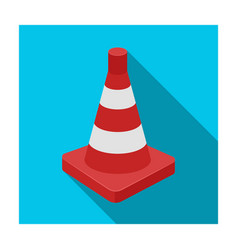 traffic cone icon in flat style isolated on white vector image