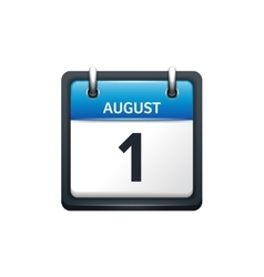 August 1 Calendar icon flat vector image vector image