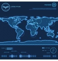 Blue Polygon World Map HUD Screen vector image