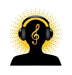 human silhouette with headphones vector image vector image