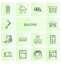 14 building icons vector image