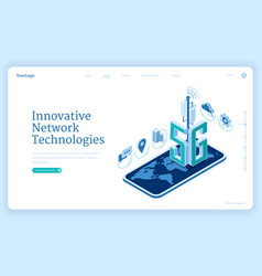 5g network technologies isometric landing page vector image