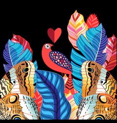 a bird in love for valentines day vector image