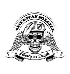 American soldier in beret vector