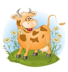 Amusing cow chews a grass vector